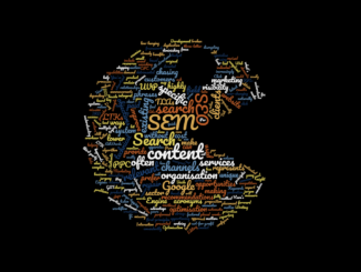 A word cloud containing acronyms relating to search